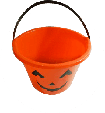 Haloween bucket with 0 candy bar